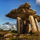 Poulnabrone dolmen the Burren, County Clare, Ireland. by MickBourke