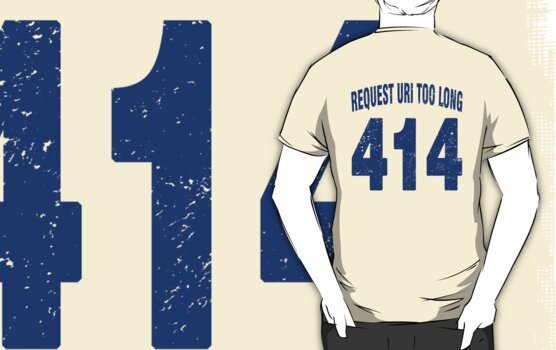 Team shirt - 414 Request URI Too Long, blue letters by JRon