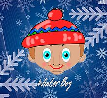Winter Boy in Snow iPhone case design by Dennis Melling