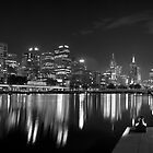 Panorama of Melbourne from Southbank, monochrome by Vicki Moritz
