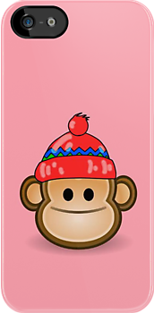 Cute Monkey wearing Beanie iPod iPhone Case by 'Customize My Minifig' by Chillee