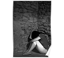 Depressed woman sitting with head in hands in a room corner  Poster