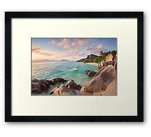 Welcome to La Digue Framed Print