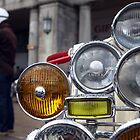 Close up Lambretta lights and riders. by Phil Bower