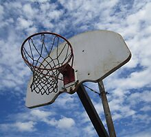 Basketball Hoop against Blue Sky by CuteNComfy