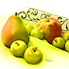 Green Apples Black Damask by Nicole  McKinney