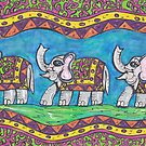 Groovy Elephant Parade by kewzoo