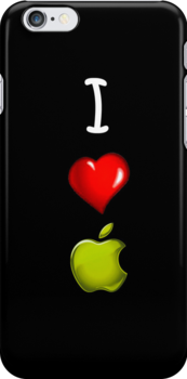 I Love Apple Black by Hiragraphic