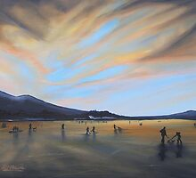 """Bavaria Inspired by Dixon.  Enjoying Fading Light on Frozen Lake Staffel"" (Image of an Oil Painting) by LBMcNicoll"