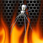 Chrome Black Widow and fire Design 3 by Skatersollie