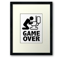 Game over puke toilet Framed Print