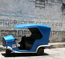 Blue Taxi Havana by Phil Bower