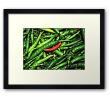Red on green chilli. Framed Print