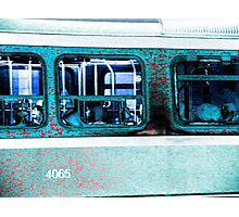 fantasy cool blue streetcar at night abstract 3 Photographic Print
