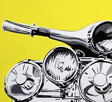 Vespa GS pop art style painting. by Phil Bower