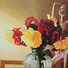 Red and yellow flowers in a vase by Phill Hatton
