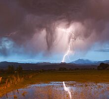 Lightning Striking Longs Peak Foothills  3 by Bo Insogna