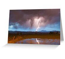 Lightning Striking Longs Peak Foothills  3 Greeting Card