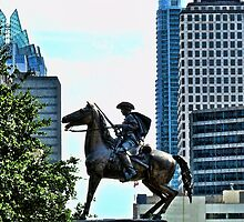 Texas Cowboy Rides Horseback At Austin State Capitol by Jack McCabe