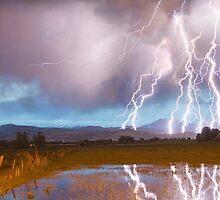 Lightning Striking Longs Peak Foothills 4 by Bo Insogna