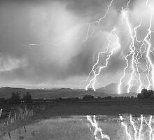 Lightning Striking Longs Peak Foothills 4BW by Bo Insogna