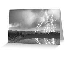 Lightning Striking Longs Peak Foothills 4BW Greeting Card