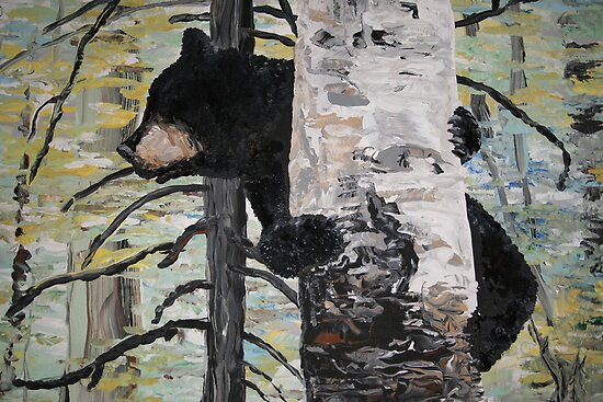 Bear Cub in Birch Tree by Judy Bergmann