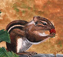 Furry Little Strawberry Thief by Judy Bergmann