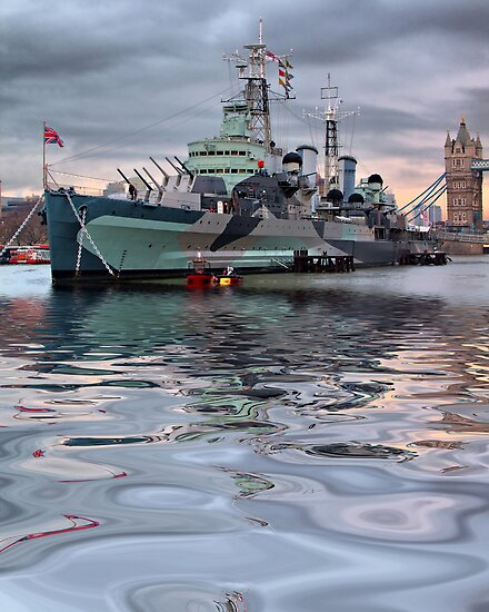 HMS Belfast At Twlight by Colin J Williams Photography