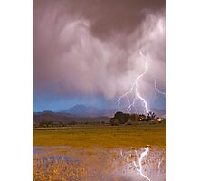 Lightning Striking Longs Peak Foothills 7C Photographic Print