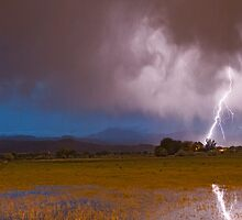 Lightning Striking Longs Peak Foothills 8 by Bo Insogna