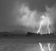 Lightning Striking Longs Peak Foothills 8CBW by Bo Insogna