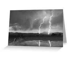 Lightning Striking Longs Peak Foothills 8BW Greeting Card