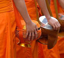 Buddhist Monks Luang Prabang Laos by Bob Christopher