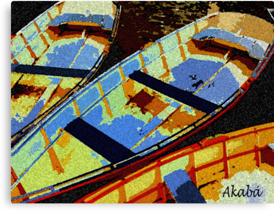 Blue and yellow Boats by eakaba