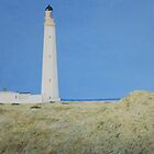 Barnes Ness Lighthouse painting by Michelle Bailey
