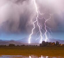 Lightning Striking Longs Peak Foothills 6C  by Bo Insogna