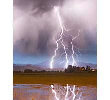Lightning Striking Longs Peak Foothills 6C  Photographic Print