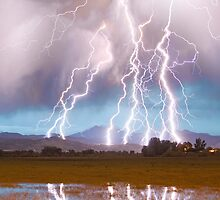 Lightning Striking Longs Peak Foothills  4C by Bo Insogna