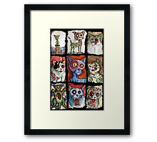 9 zombie cats Framed Print