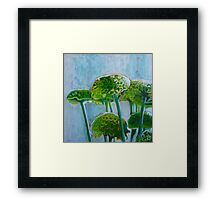 Green mums, mixed media on canvas Framed Print