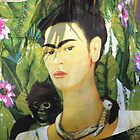 Drapery with Frida Kahlo Painting - Tela con Imagen de Frida Kahlo by PtoVallartaMex