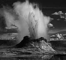 Castle Geyser erupting in B&W by PhotomasWorld