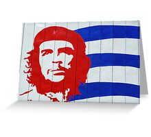 Che Guevara portrait and national Cuban flag Greeting Card