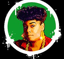 """Hip-Hop Icons: Roxanne Shanté (BLK/GRN)"" by S DOT SLAUGHTER"