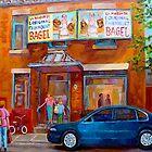 PAINTINGS OF MONTREAL FAIRMOUNT BAGEL SHOP by Carole  Spandau