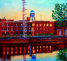 ST.PATRICK STREET POINTE ST.CHARLES CITY SCENE VANISHING MONTREAL by Carole  Spandau