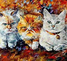 KITTENS  - ORIGINAL OIL PAINTING BY LEONID AFREMOV by Leonid  Afremov