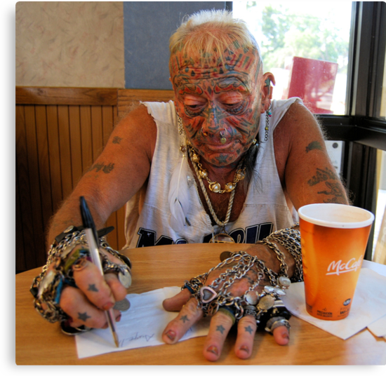 Tatto man at McDonalds by McGaffus