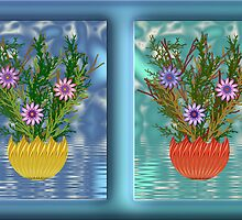 Framed Flower Pots by wolfepaw